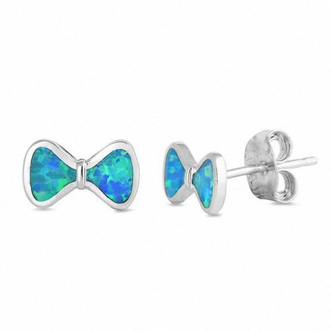 Ribbon Bow Stud Earrings Created Opal 925 Sterling Silver Choose Color