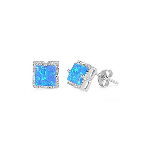 8mm Halo Stud Earring Princess Cut Created Opal Round Cubic Zirconia 925 Sterling Silver Choose Color - Blue Apple Jewelry