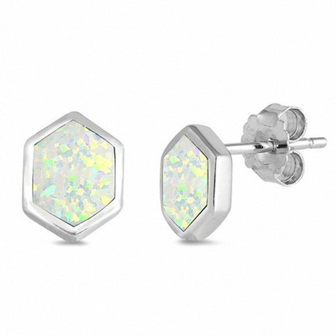 Fashion Solitaire Hexagon Created Opal Stud Earrings 925 Sterling Silver Choose Color