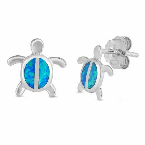 Turtle Stud Earrings Created Opal 925 Sterling Silver Choose Color