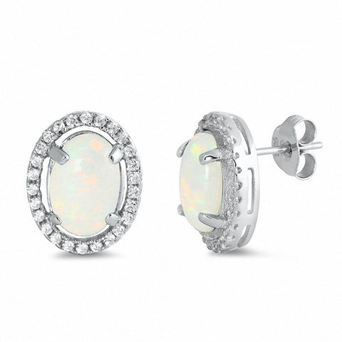 Halo Oval Created Opal Round Cubic Zirconia Stud Earrings 925 Sterling Silver Choose Color