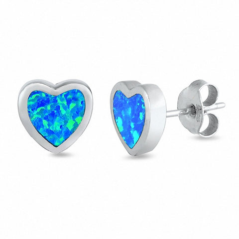 Solitaire Heart Stud Earrings Created Opal 925 Sterling Silver Choose Color