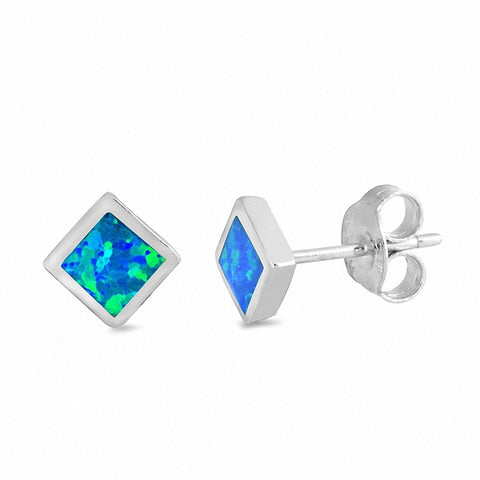 6mm Square Solitaire Stud earrings Created Opal 925 Sterling Silver Choose Color