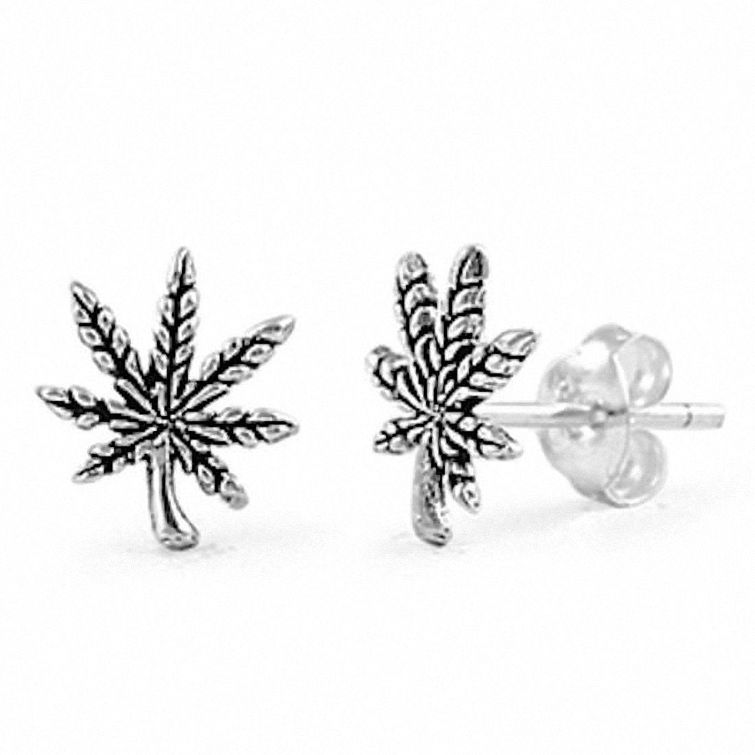 9mm Small Pot Leaf Solid 925 Sterling Silver Stud Post Earrings