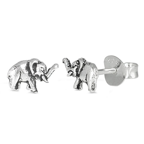 5mm Lucky Trunk Up Elephant Stud Earrings 925 Sterling Silver Choose Color - Blue Apple Jewelry