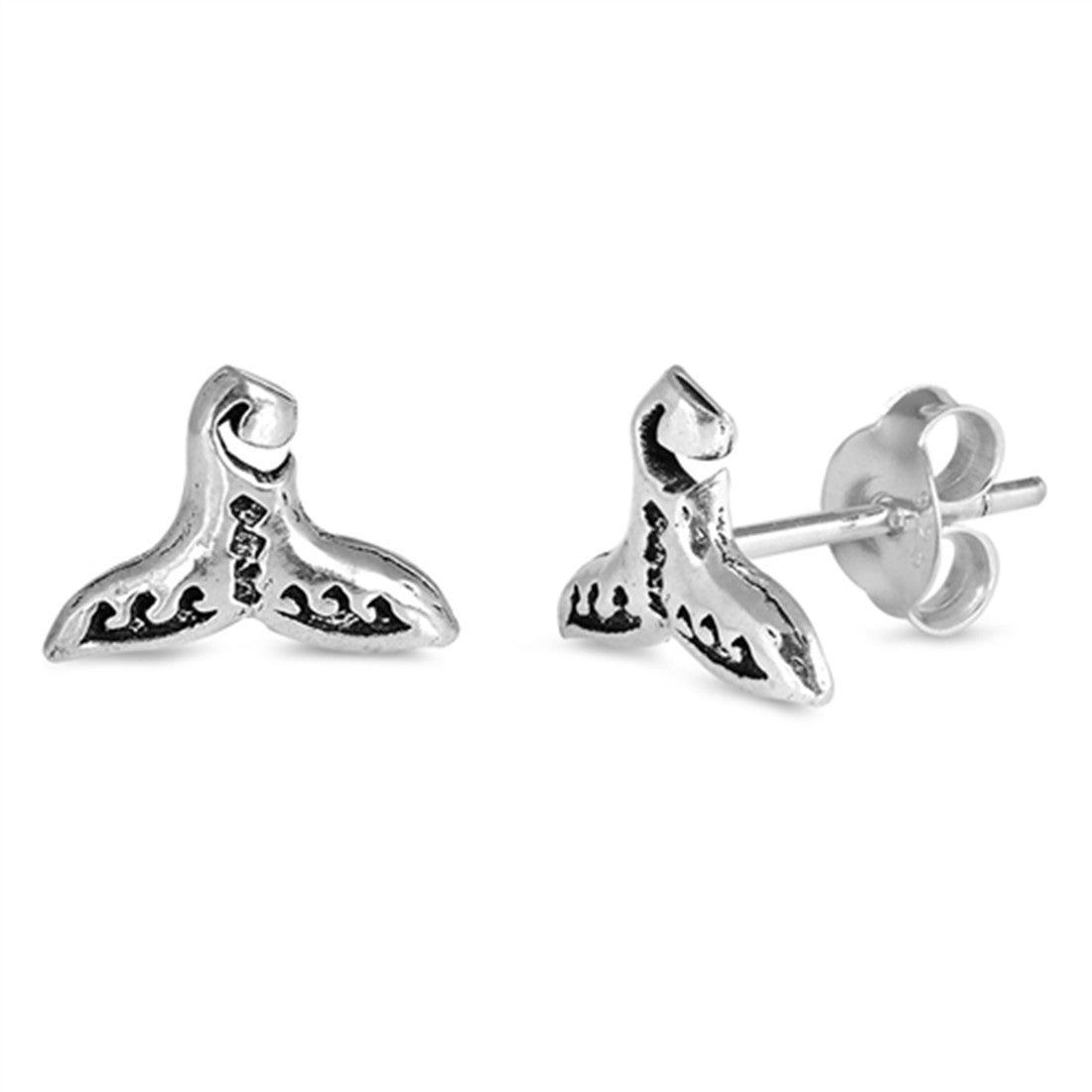 6c4b66ab0 7mm Tiny Whale Tail Stud Post Earrings 925 Sterling Silver Whale Tail Earring  Choose Color -