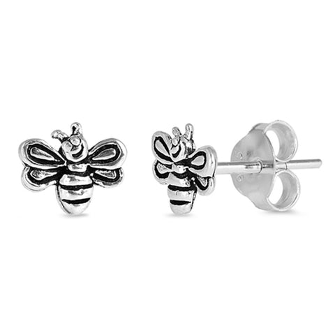 6mm Tiny Small Bee Stud Earrings 925 Sterling Silve Bee Earring Choose Color - Blue Apple Jewelry