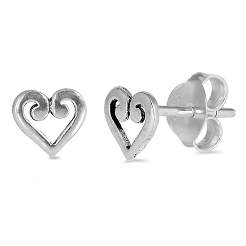 Swirl Filigree Desing 5mm Small Tiny Heart Stud Post Earrings 925 Sterling Silver Choose Color - Blue Apple Jewelry