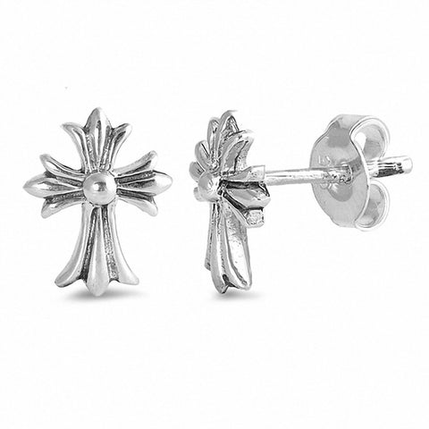 Medieval Cross Stud Earrings 925 Sterling Silver Small Choose Color