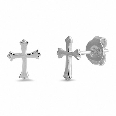 Small Tiny Cross Stud Earrings 925 Sterling Silver Choose Color