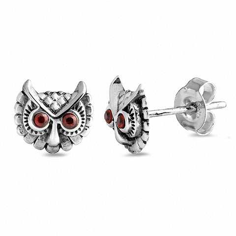 Small Owl Stud Earrings Round Red Eyes Choose Color