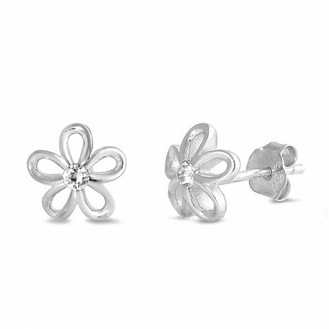 Flower Stud Earrings 925 Sterling Silver Choose Color