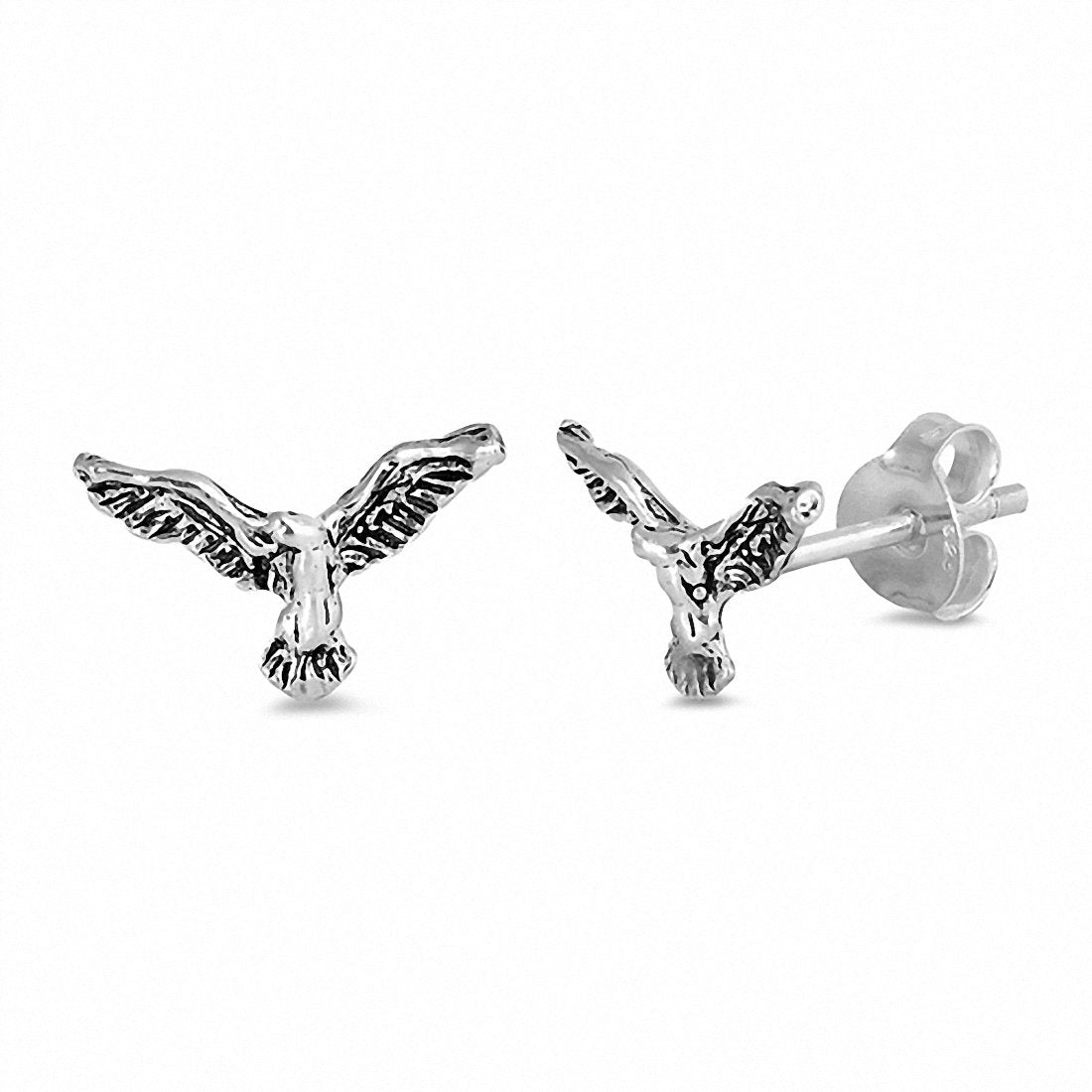 Tiny Eagle Stud Earrings 925 Sterling Silver Choose Color