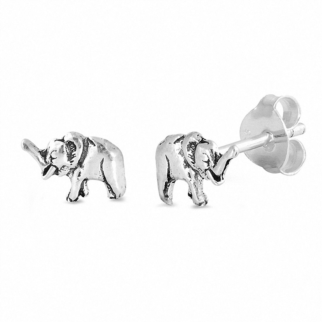 Tiny Elephant Stud Earrings 925 Sterling Silver