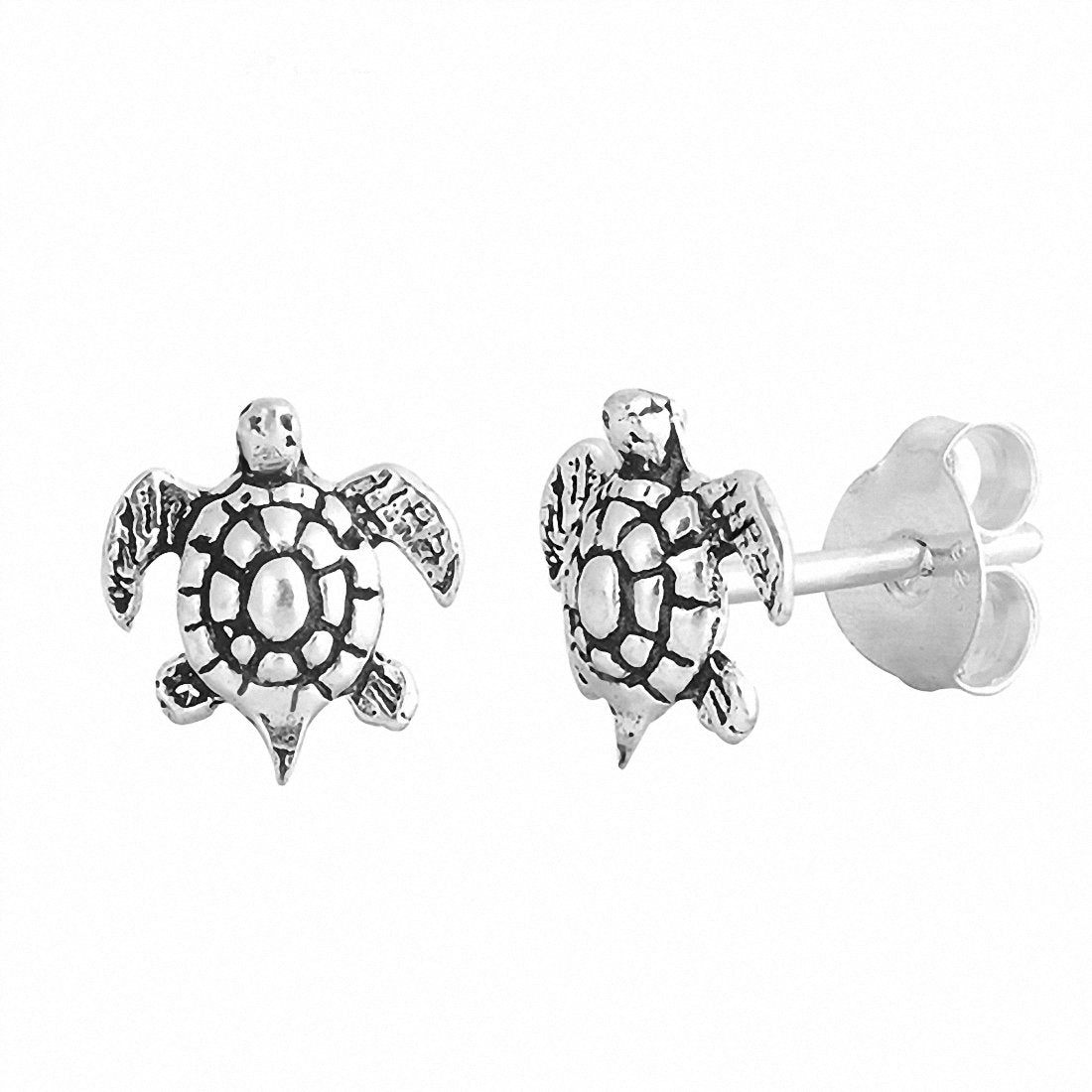 Tiny Turtle Stud Earrings 925 Sterling Silver Choose Color