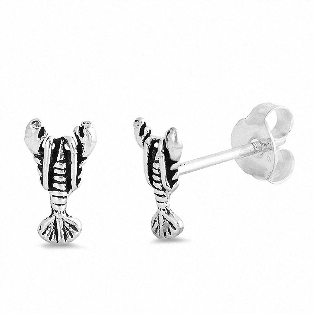 Tiny Lobster Stud Earrings 925 Sterling Silver Choose Color