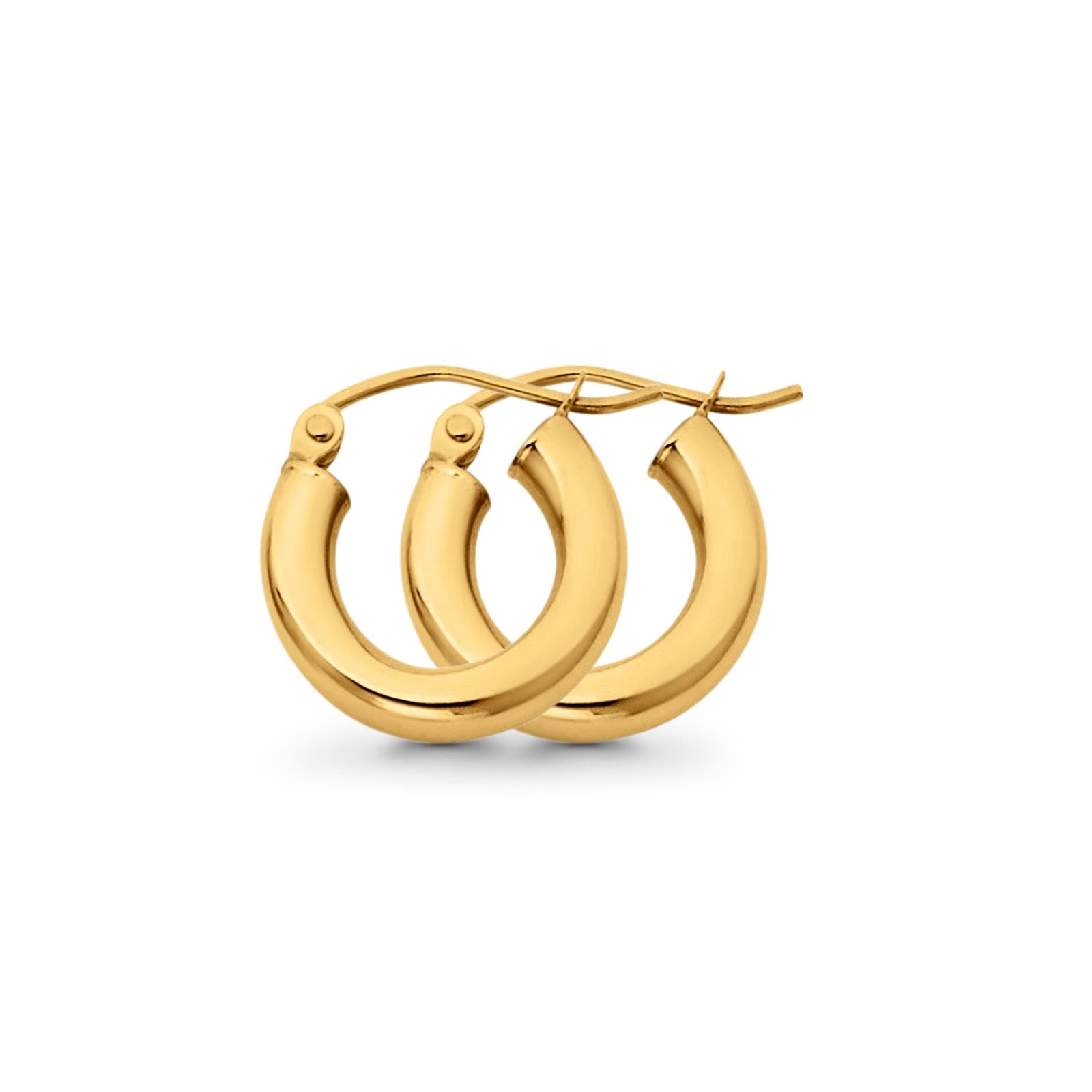 Real Stylish Yellow Gold Plain 3mm Snap Closure Hoop Earrings Hinged 1gram 14mm 14K