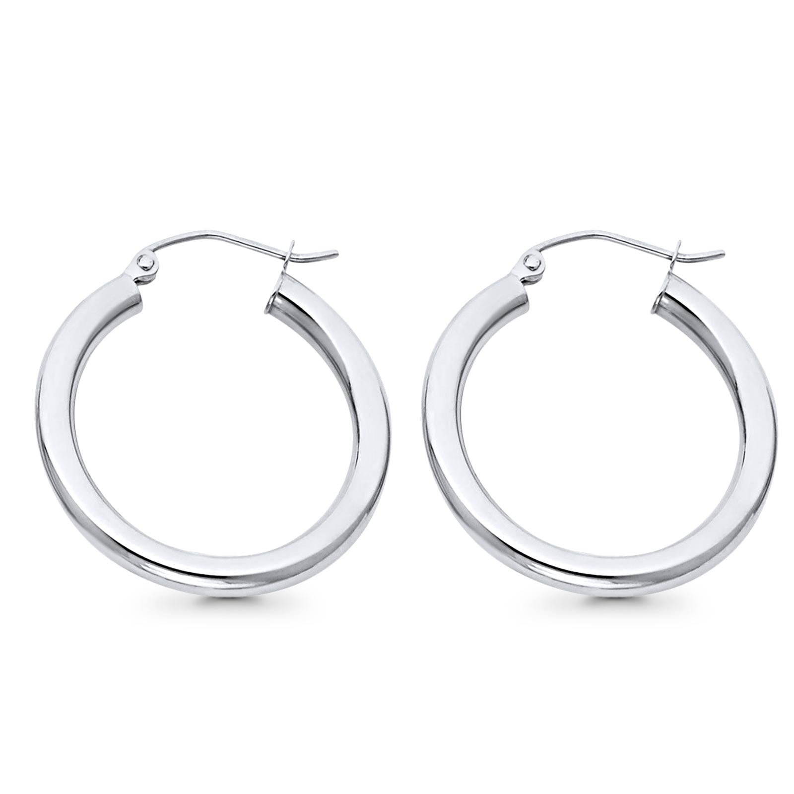 White Gold 14K Real 3mm Stylish Plain Snap Closure Hoop Earrings Hinged 1.8grams 24mm