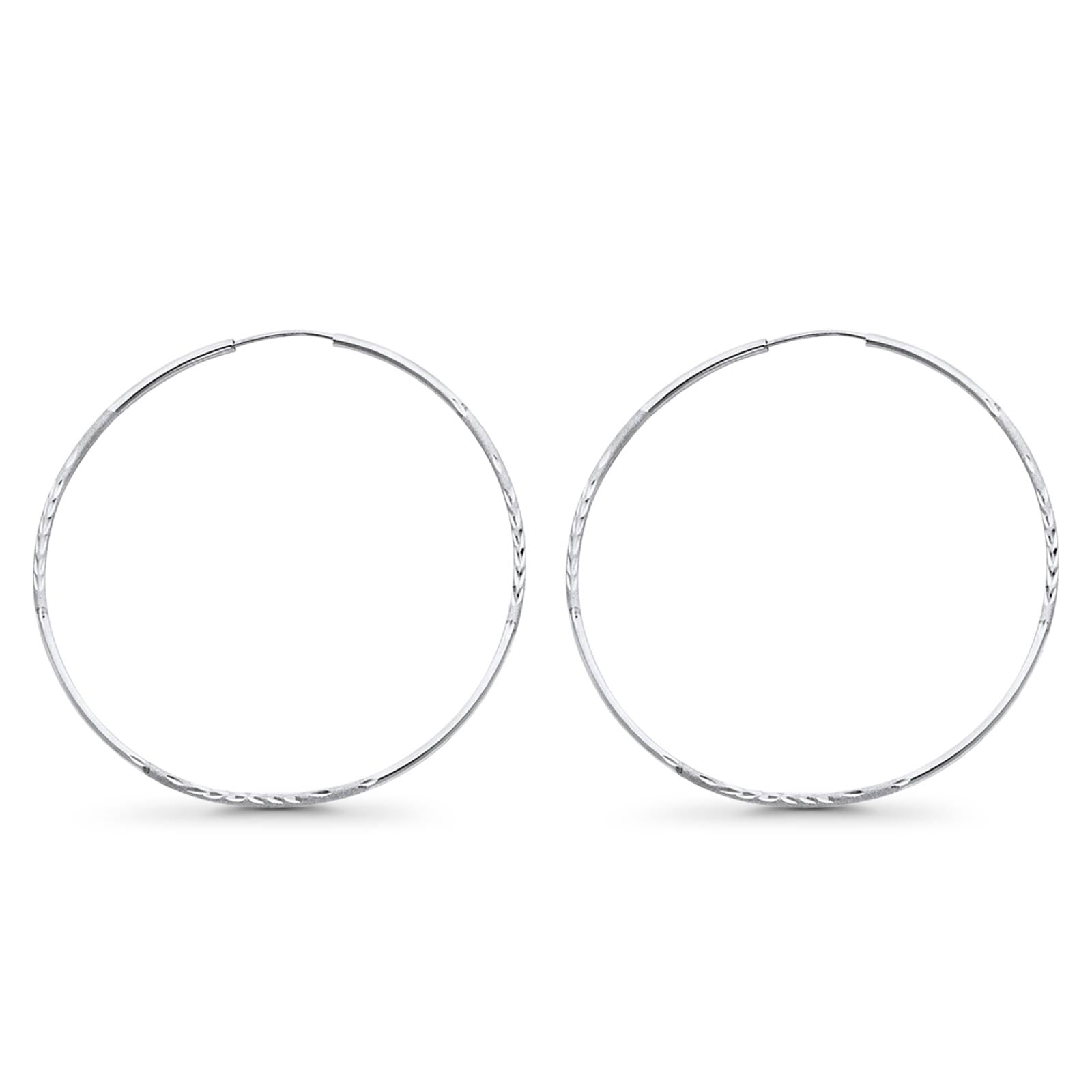 White 14K Gold Real 1.5mm Diamond Cut Snap Closure Hoop Earrings Endless 2grams 55mm