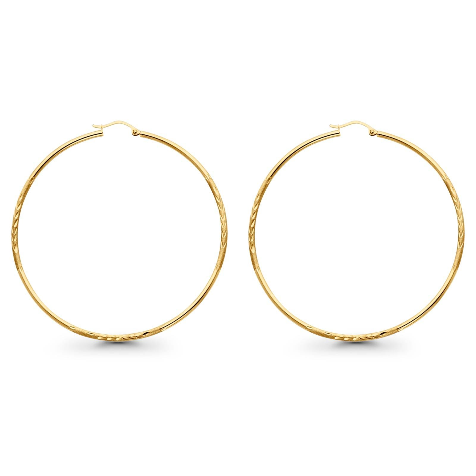 Yellow Gold 3.2grams 65mm Real 14K Diamond Cut 2mm Snap Closure Hoop Earrings Hinged