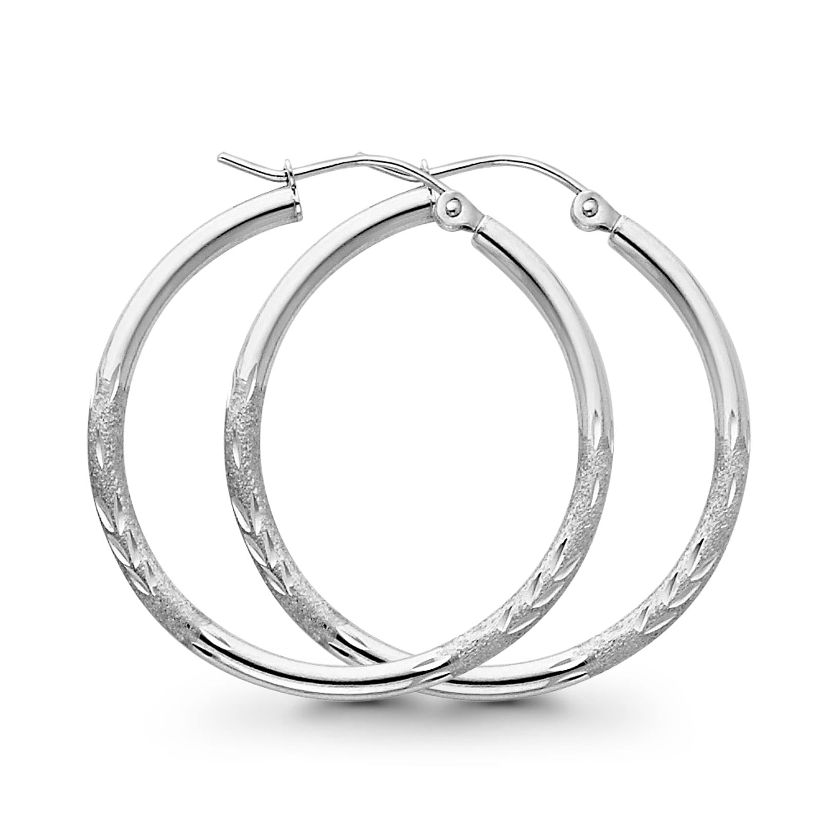 14K White Gold Real Diamond Cut 2mm Snap Closure Hoop Earrings Hinged 1.5grams 30mm