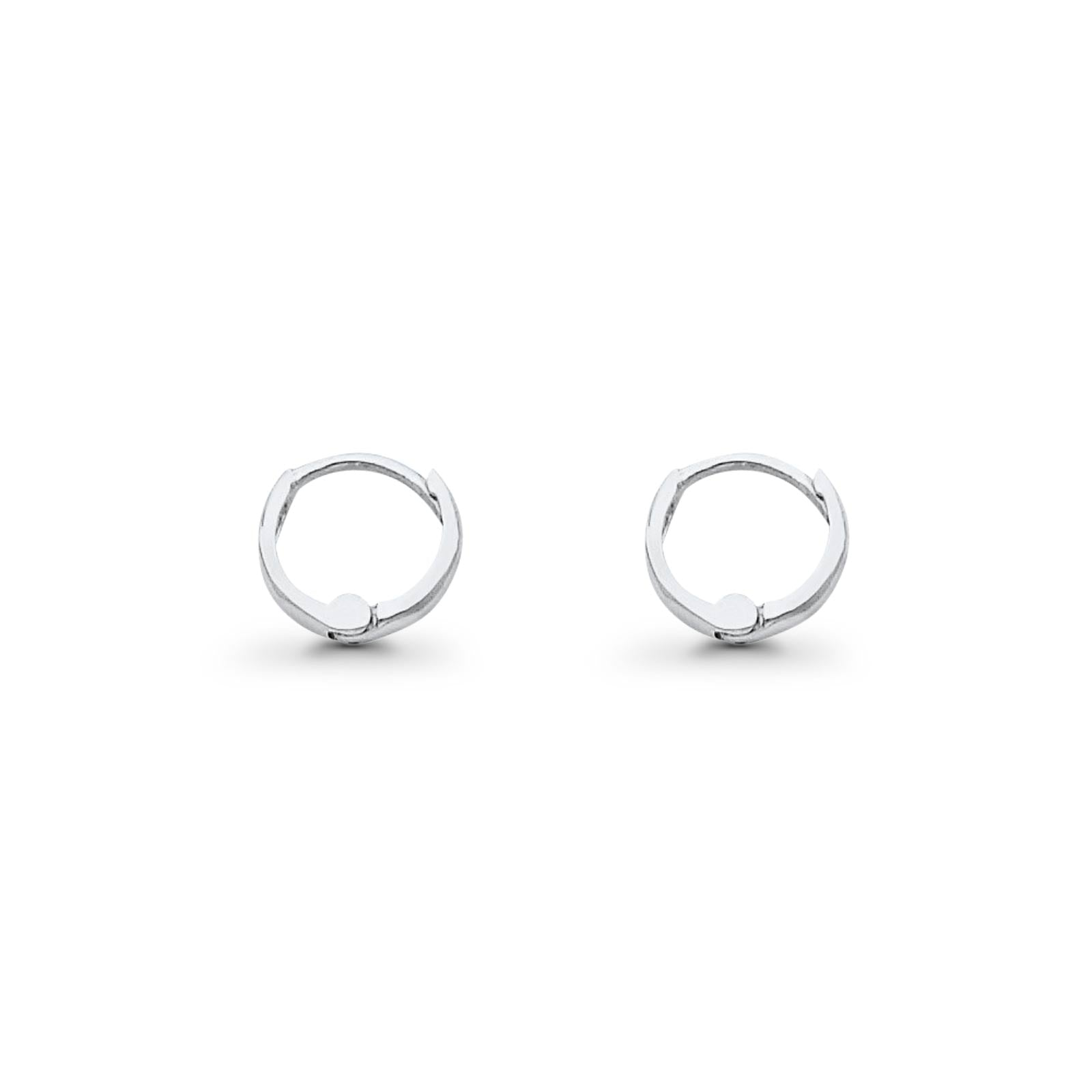 Real White Gold 14K 1.5mm Lovely Huggies Earrings Hinged 0.5grams 8mm