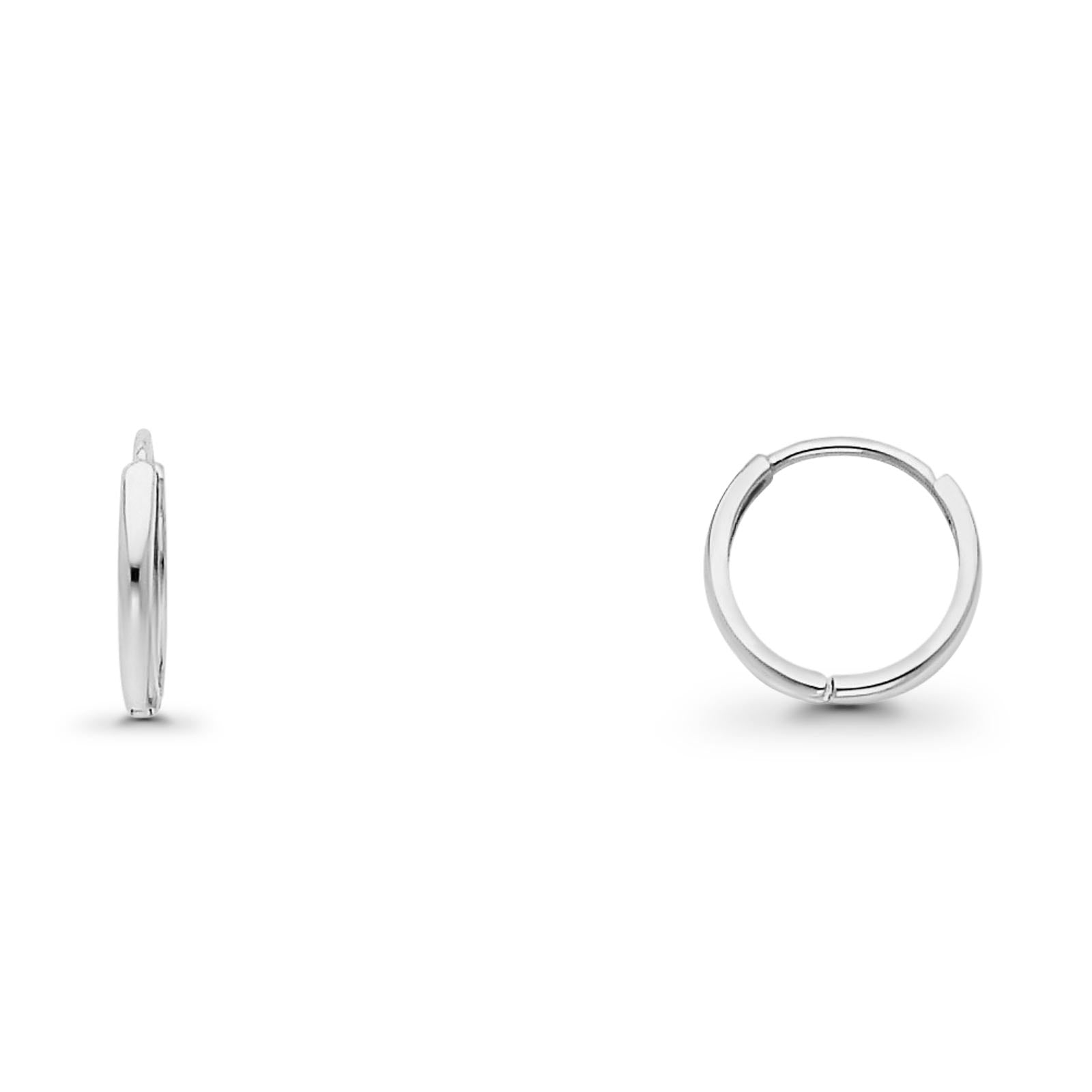 Attractive 14K White Gold Real 2mm Huggies Earrings Hinged 0.8gram 11mm