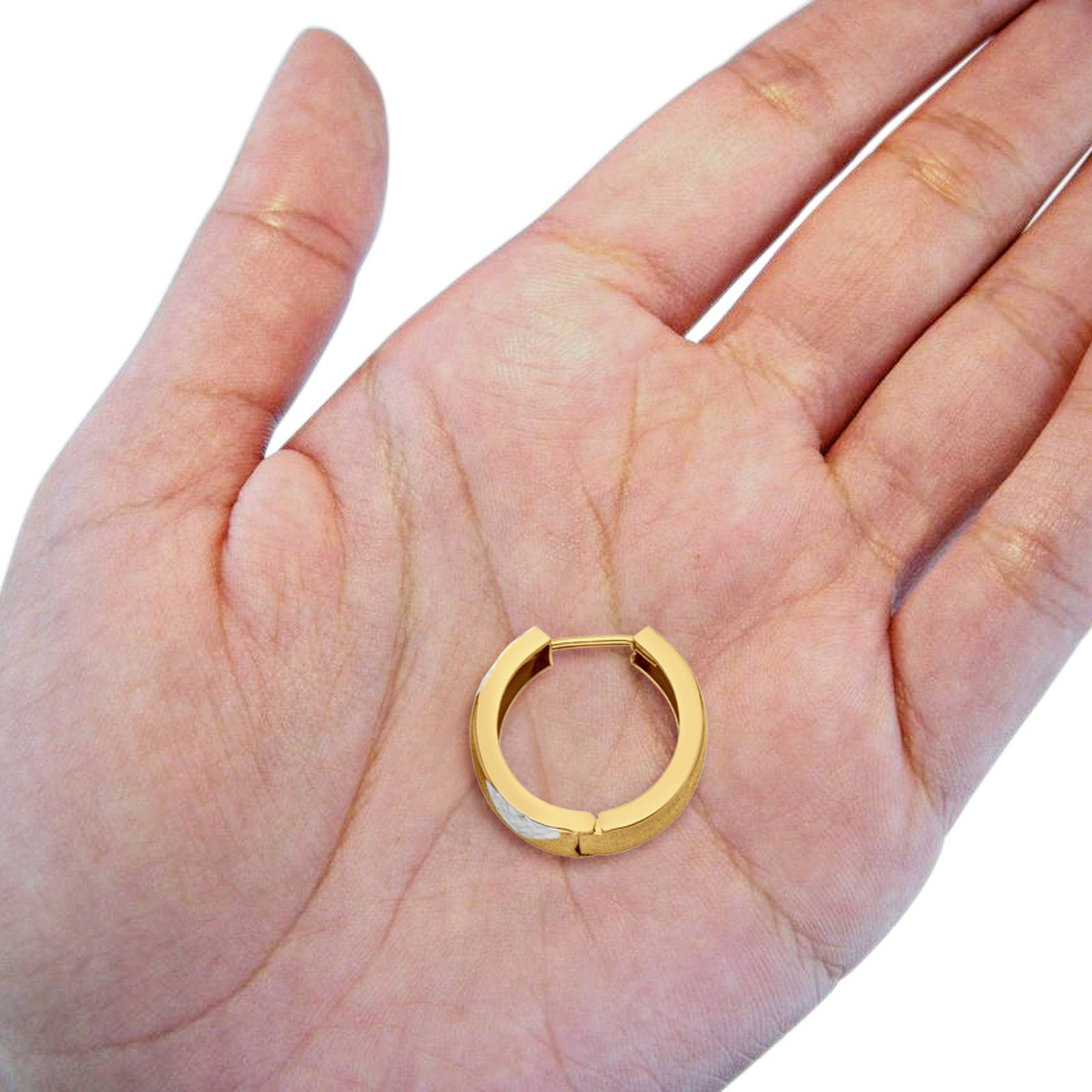 Real Lovely 14K Two Tone Gold 5mm Huggies Earrings Hinged 2.2grams 15mm
