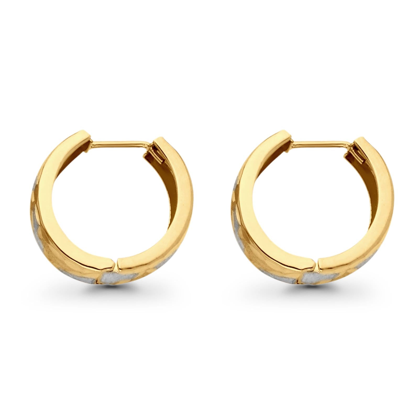 14K Stylish Two Tone Gold Real 5mm Huggies Earrings Hinged 2.2grams 15mm