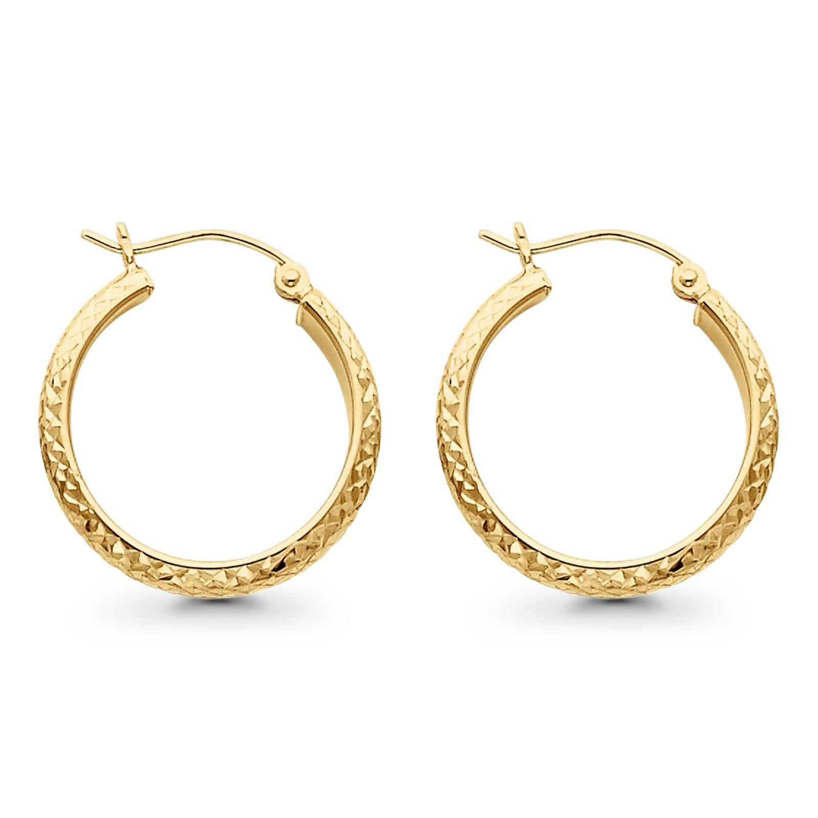 14K Yellow Gold Real 3.5mm Diamond Cut Snap Closure Hoop Earrings Hinged 1.6grams 22mm
