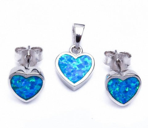 Heart Jewelry Set Created Opal 925 Sterling Silver Choose Color
