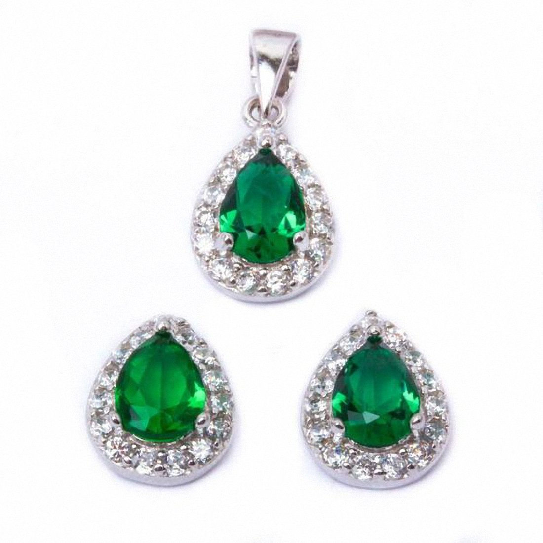 Halo Bridal Jewelry Set Teardro Pear Round Cubic Zirconia 925 Sterling Silver Choose Color