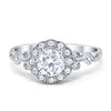 Halo Art Deco Filigree Engagement Ring Round Cubic Zirconia Solid 925 Sterling Silver Choose Color