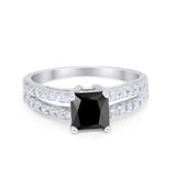 Wedding Ring Princess Cut Simulated Cubic Zirconia 925 Sterling Silver