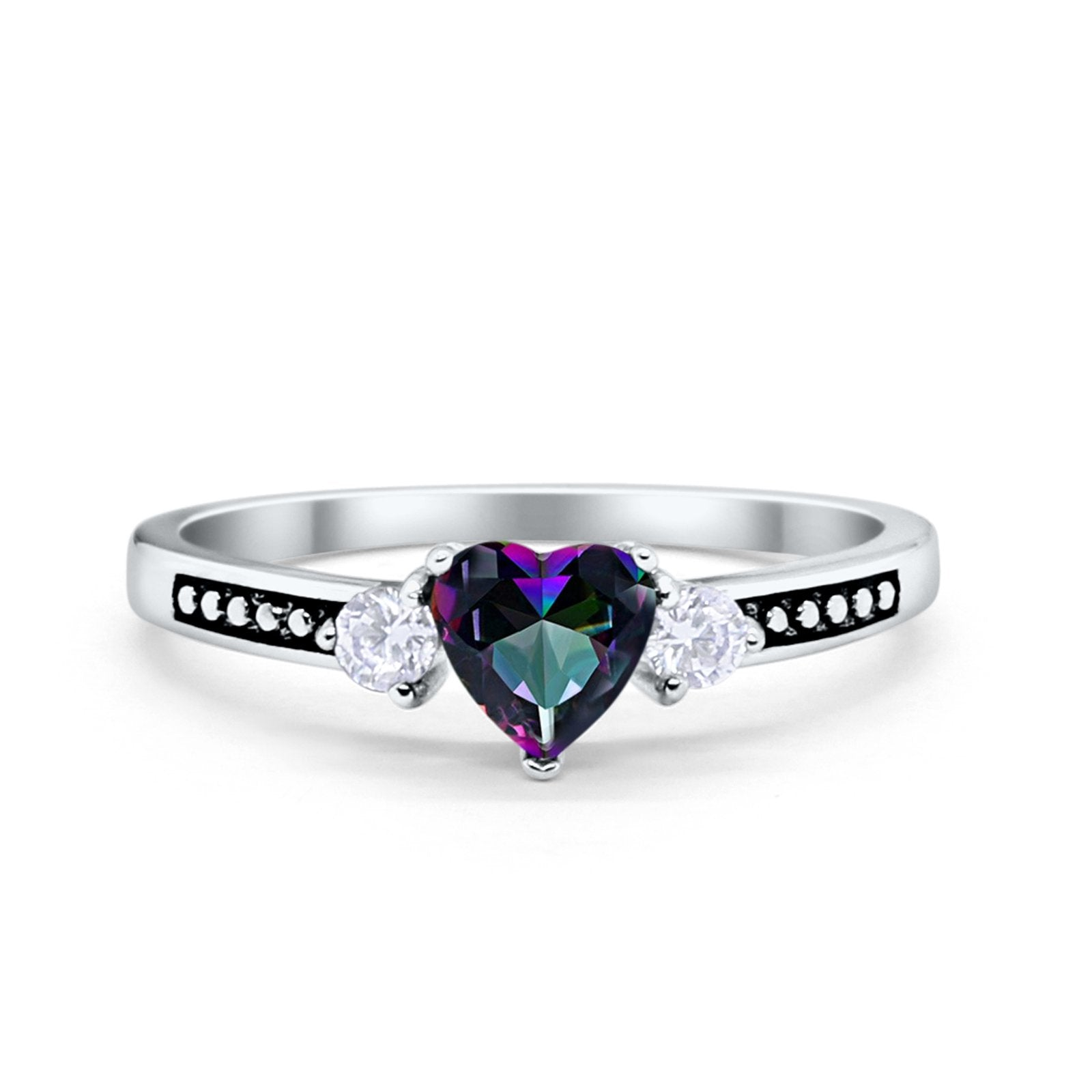 Heart Promise Ring Simulated Cubic Zirconia Black Accent 925 Sterling Silver
