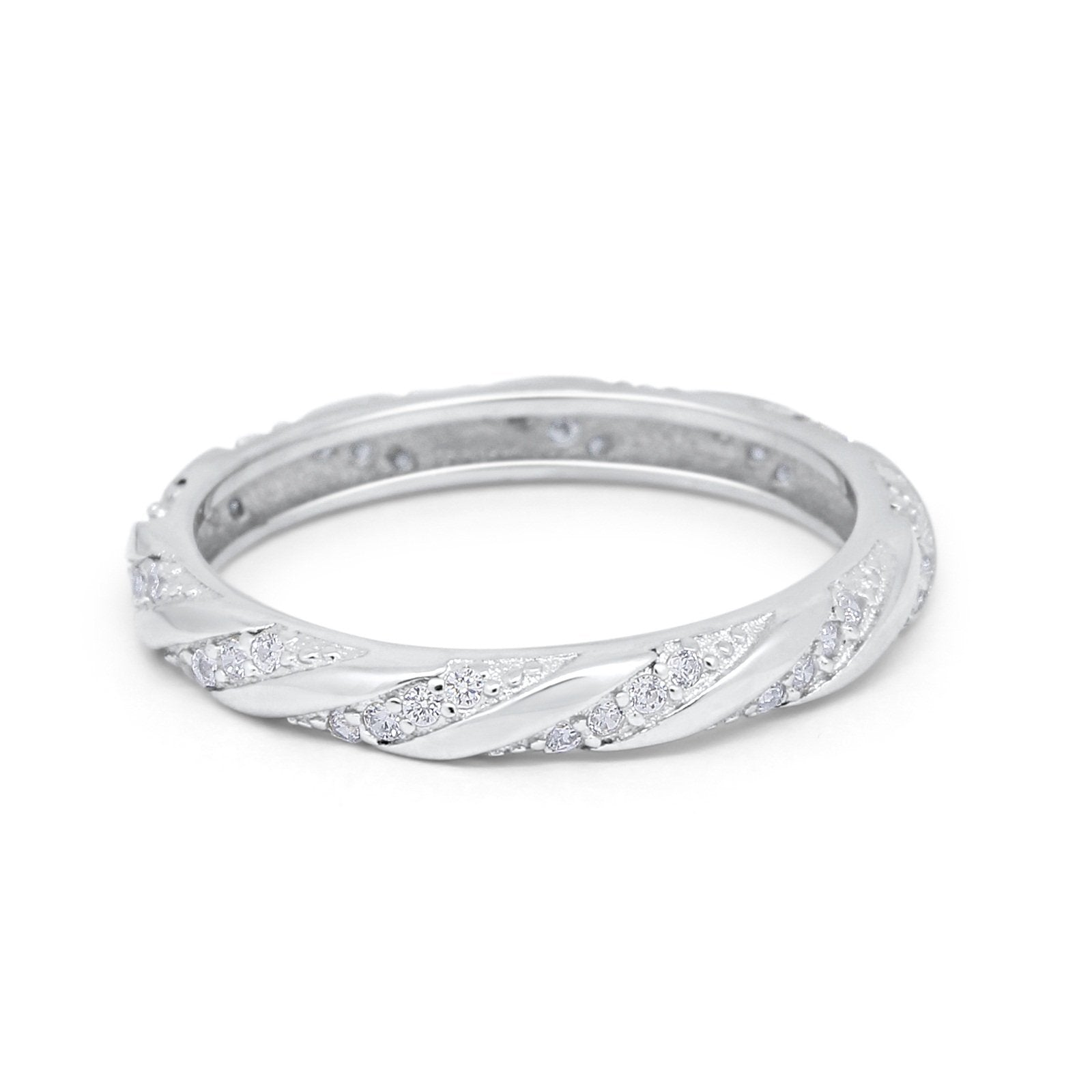Full Eternity Stackable Wedding Band Rings Simulated CZ 925 Sterling Silver