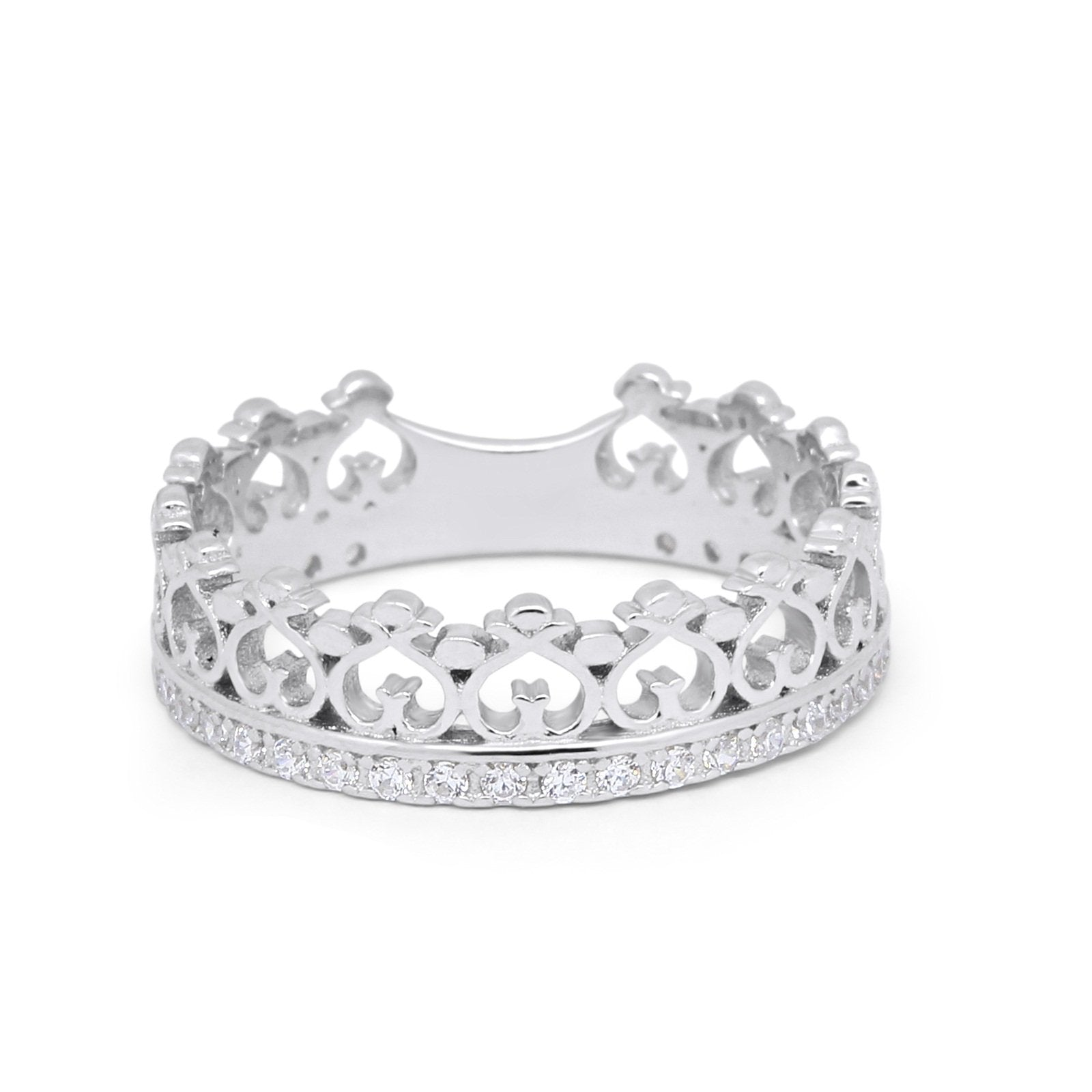 Eternity Heart Crown Band 925 Sterling Silver