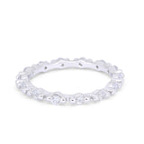 Eternity Pave Wedding Rings Simulated Cubic Zirconia 925 Sterling Silver