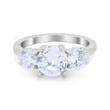 Three Stone Vintage Style Wedding Engagement Ring 3 Stone Cubic Zirconia 925 Sterling Silver