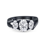 3 Stone Oval Wedding Ring Simulated Cubic Zirconia 925 Sterling Silver