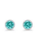 Stud Solitaire Wedding Earrings 925 Sterling Silver Simulated CZ Stud Earrings