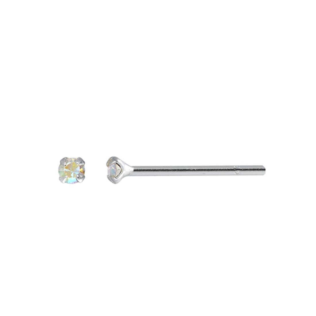 AB Crystal Simulated Cubic Zirconia Nose Stud 925 Sterling Silver-(20 Nose Studs in a Box)