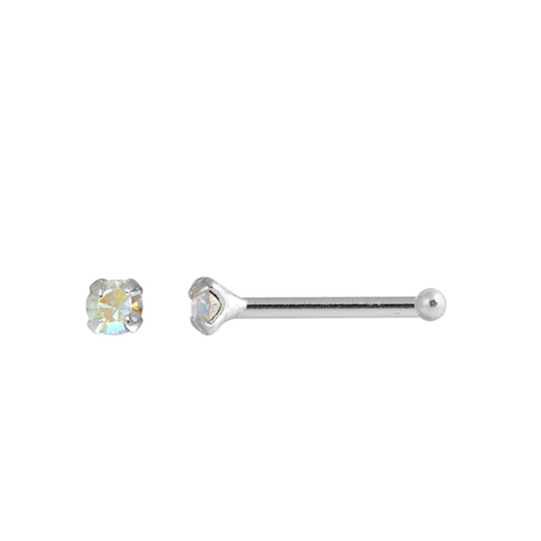 AB Crystal Simulated Cubic Zirconia Nose Stud Ball End 925 Sterling Silver-(20 Nose Studs in a Box)