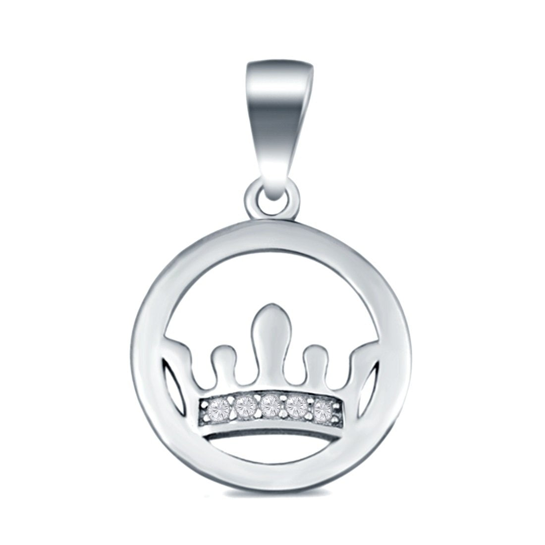 Round Crown Pendant Charm Simulated Cubic Zirconia 925 Sterling Silver