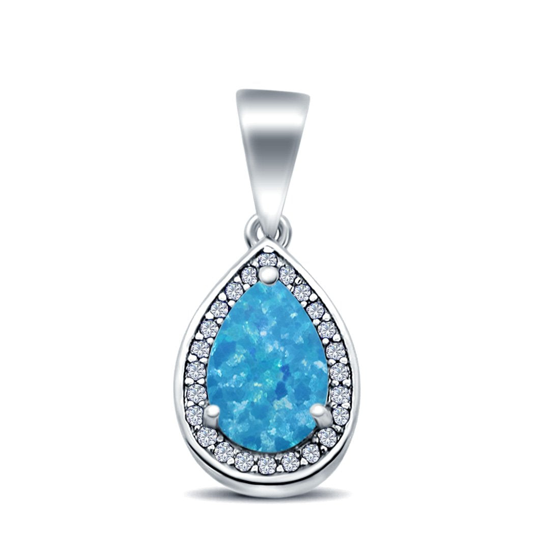 Pear Lab Created Opal Simulated Cubic Zirconia 925 Sterling Silver Charm Pendant