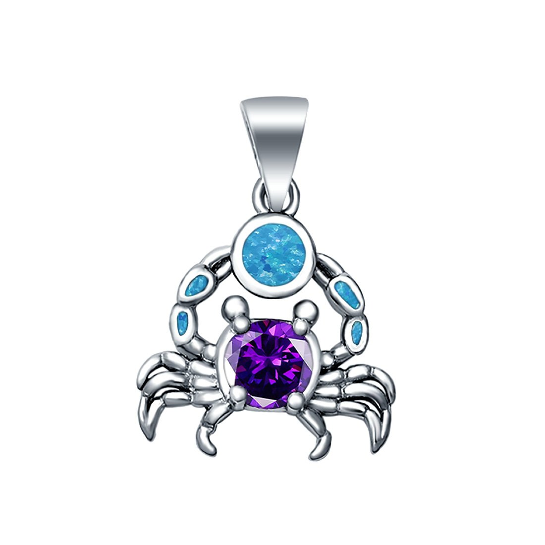 Crabs Charm Pendant Lab Created Blue Opal Simulated Amethyst CZ 925 Sterling Silver