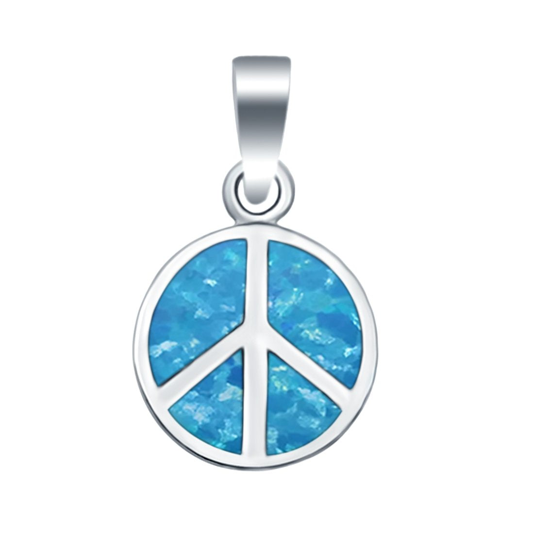Peace Sign Lab Created Opal Charm Pendant 925 Sterling Silver