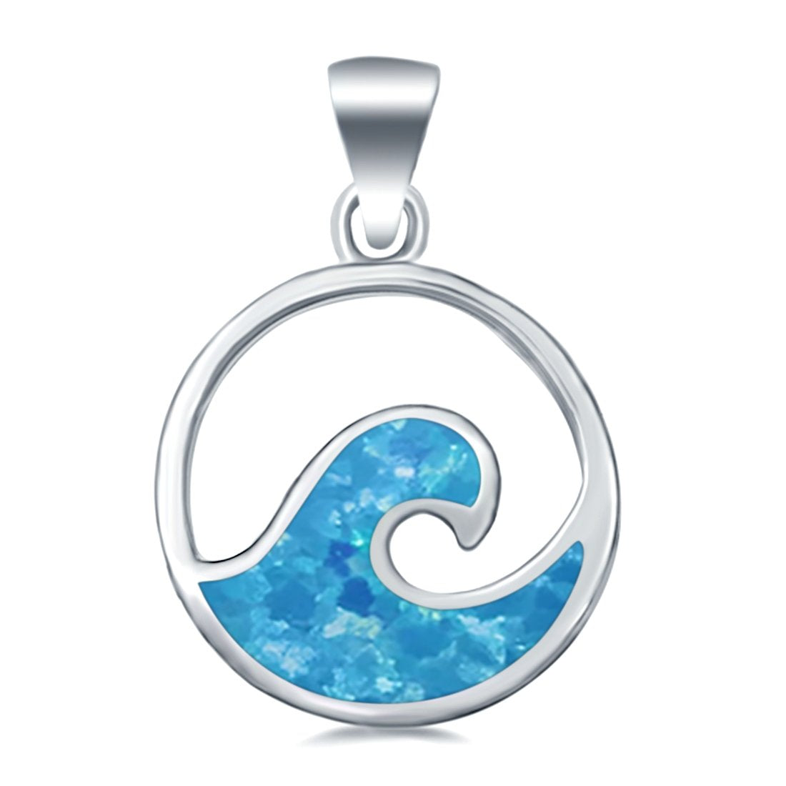 Wave Shape Lab Created Opal 925 Sterling Silver Charm Pendant