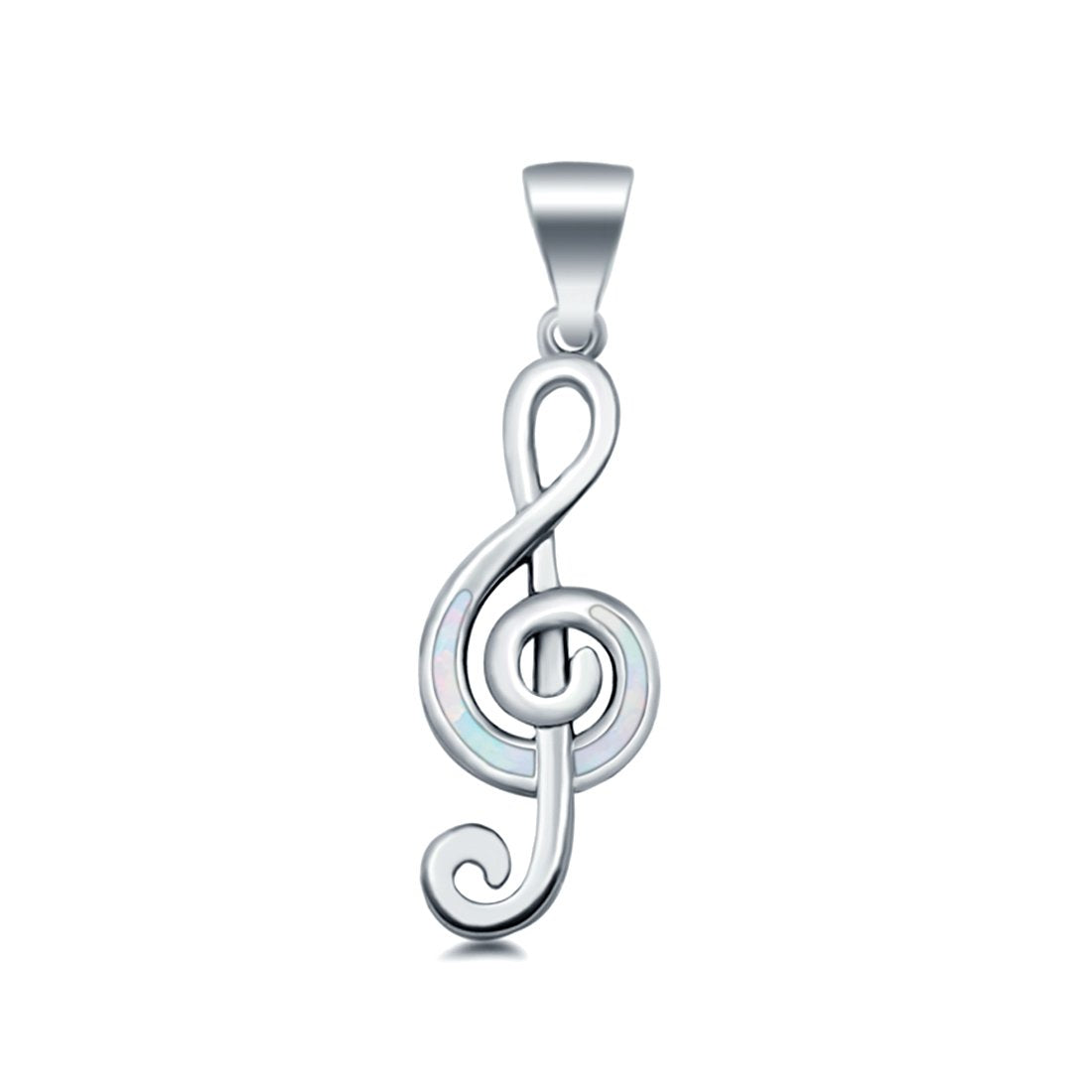 Musical Note Pendant Charm Lab Created Opal Solid 925 Sterling Silver