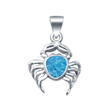 Beautiful Lab Created Opal Crab Charm Pendant 925 Sterling Silver
